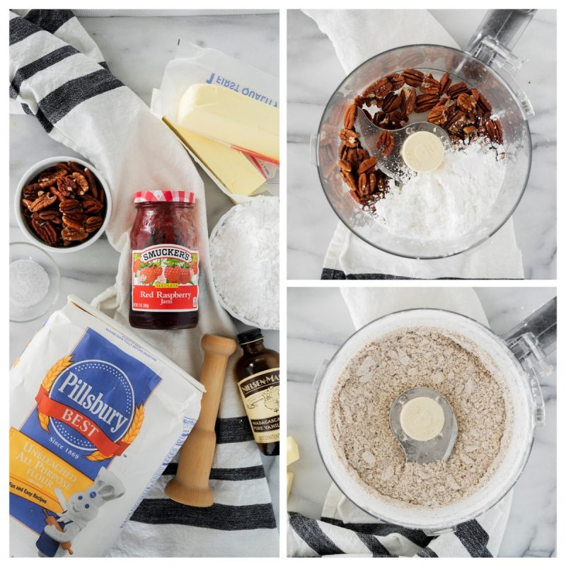 ingredients to make pecan cookie cups with jam