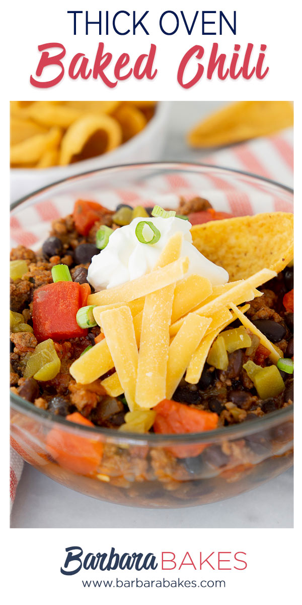 pinterest button for thick oven baked chili recipe