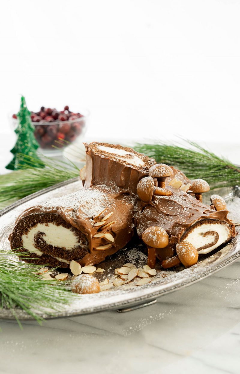 yule log cake on a serving platter