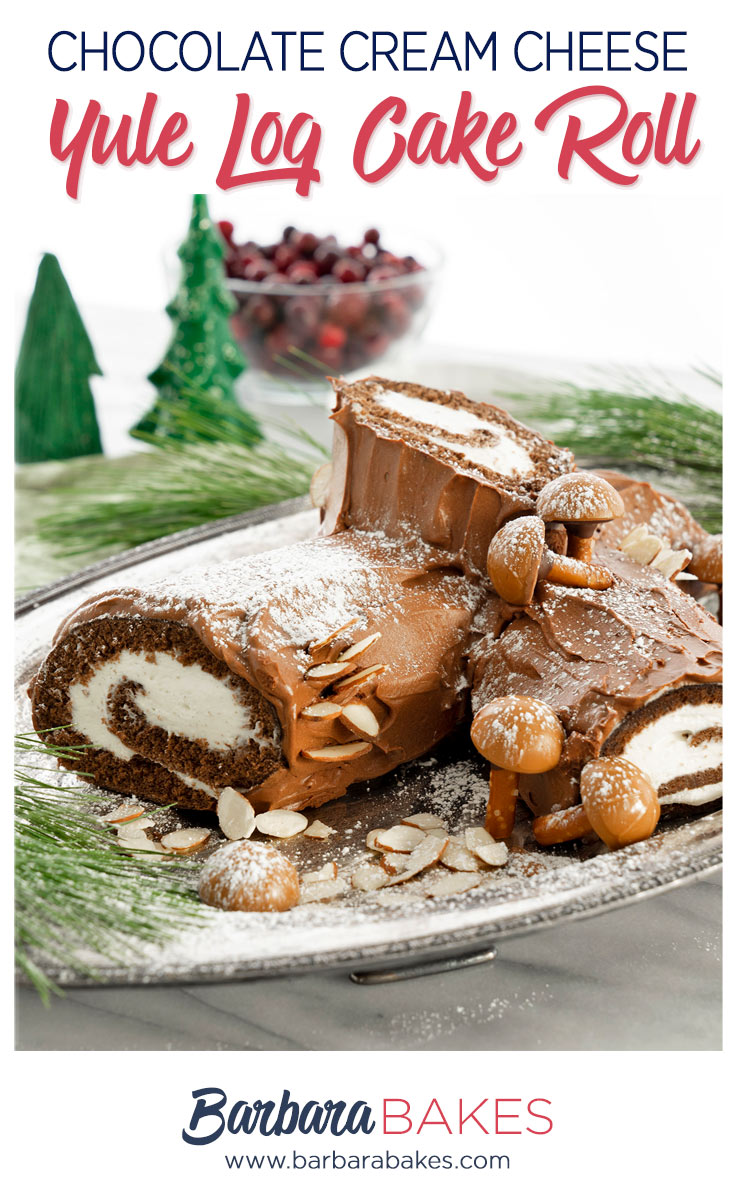 pinterest button for yule log cake