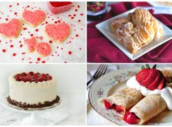 collage of valentine's day desserts and breakfast recipes