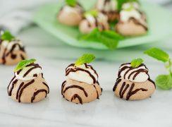 mini pavlovas with chocolate ganache and mascarpone filling