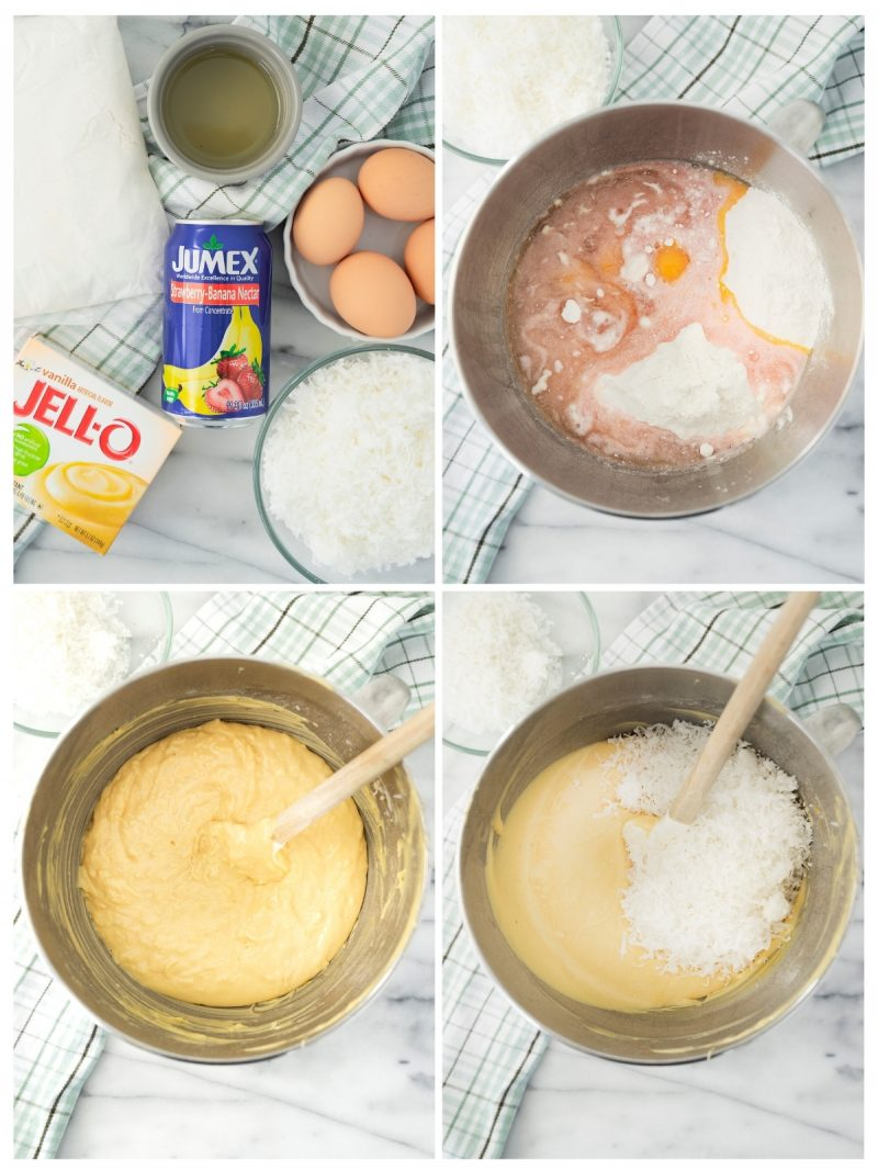 steps to make batter for coconut cupcakes in a stand mixer