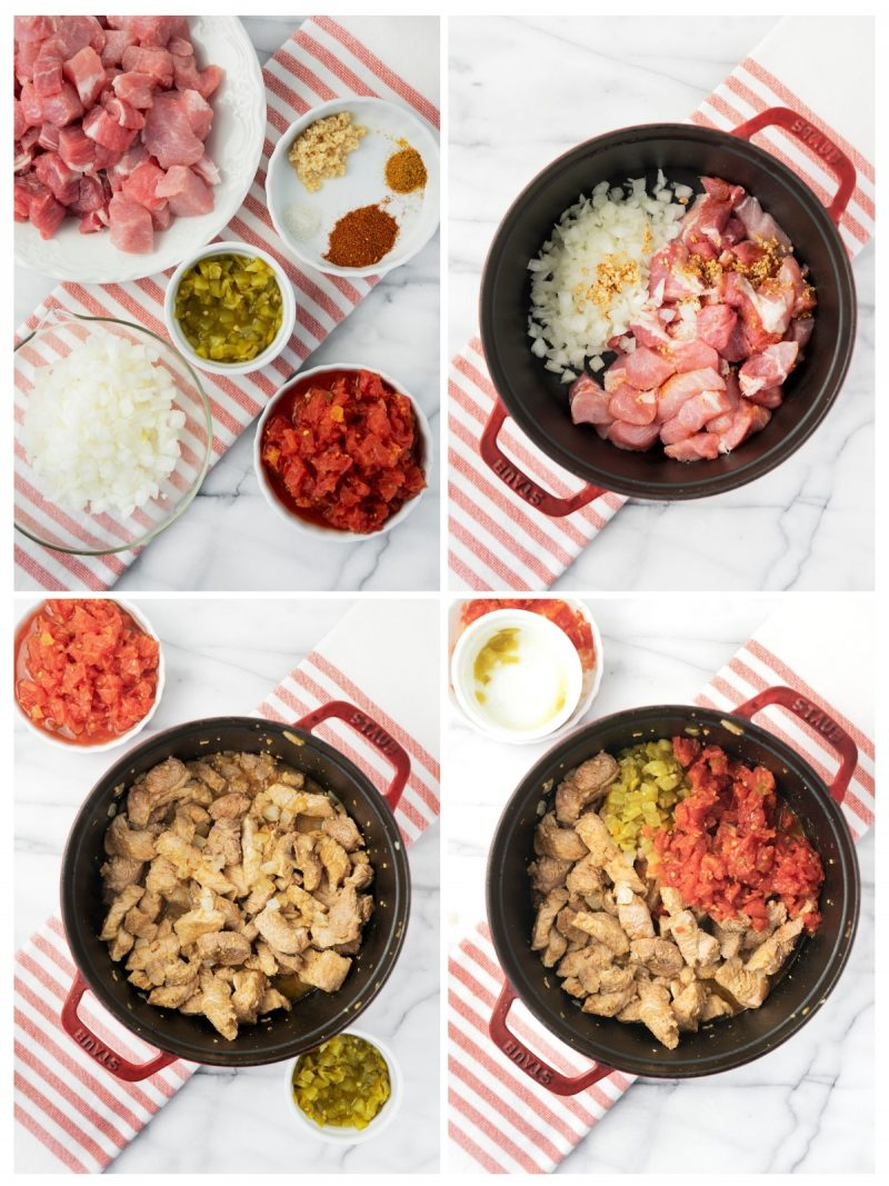 steps to prepare pork carnitas tacos with tomatoes and green chilis