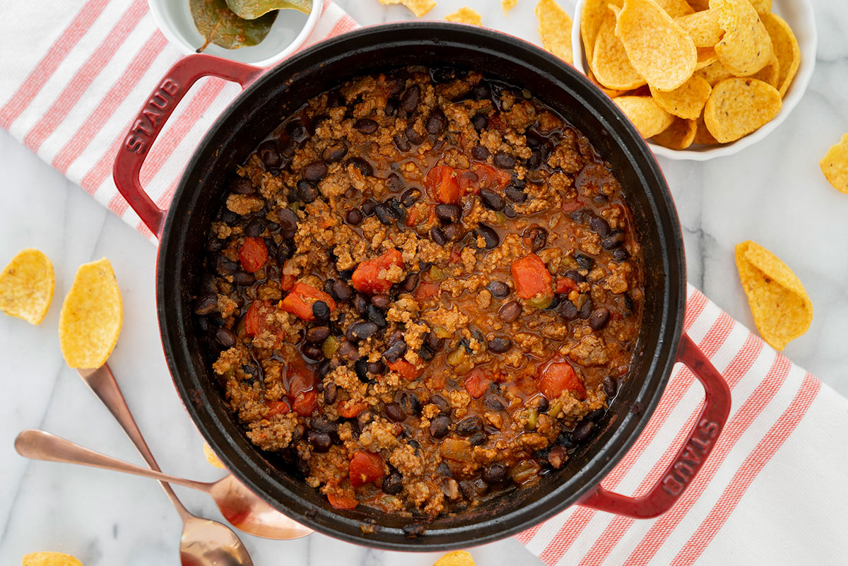 oven baked chili in cast iron pan