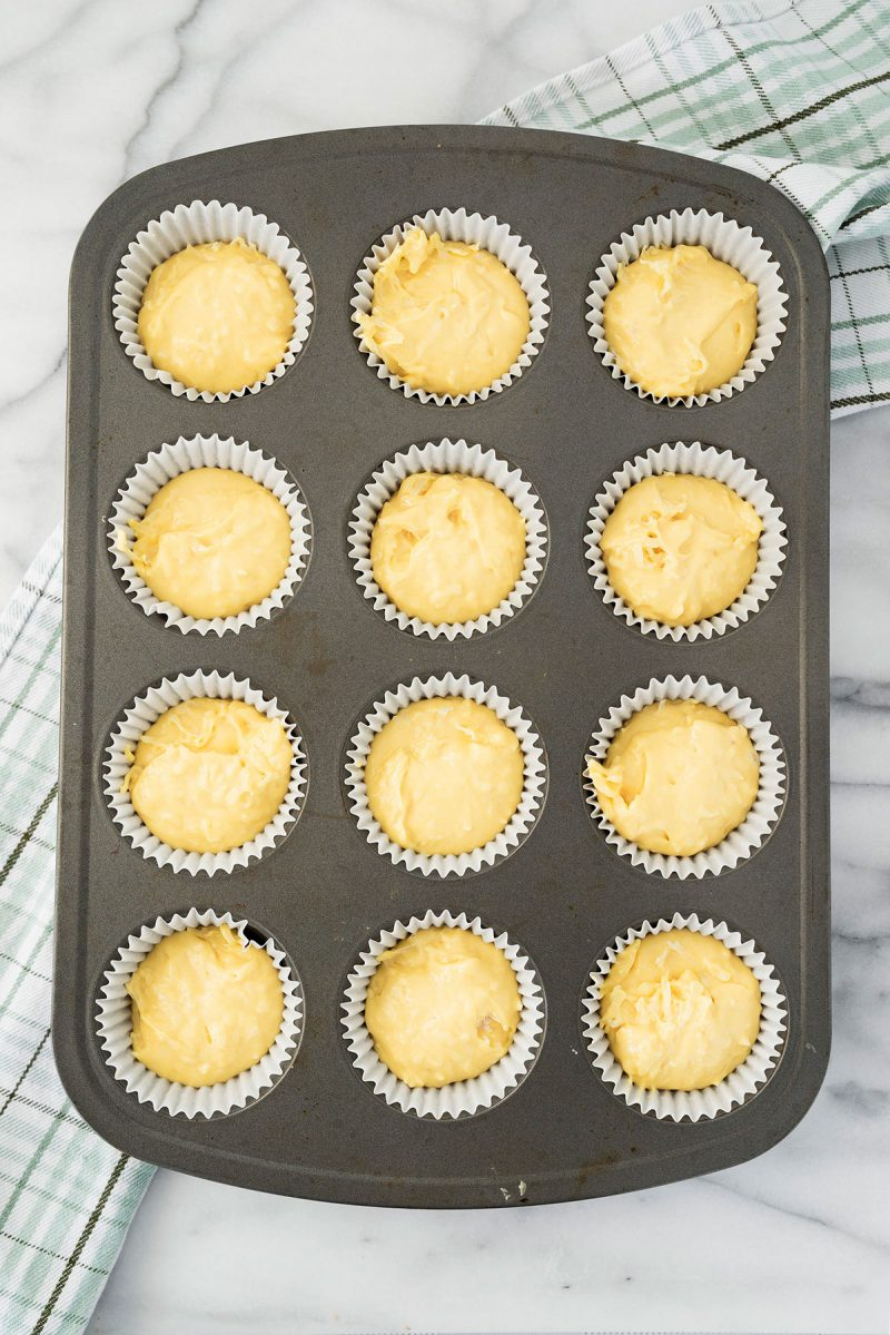 fill cupcake well 3/4 full with batter