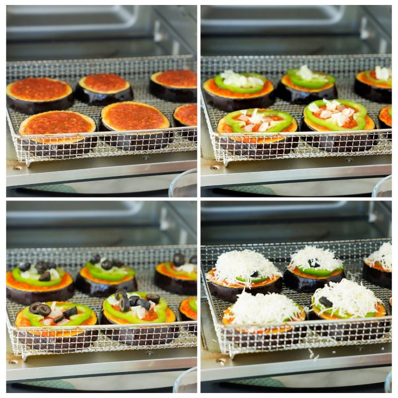 collage of building eggplant pizzas with marinara sauce, vegetables and cheese in the oven