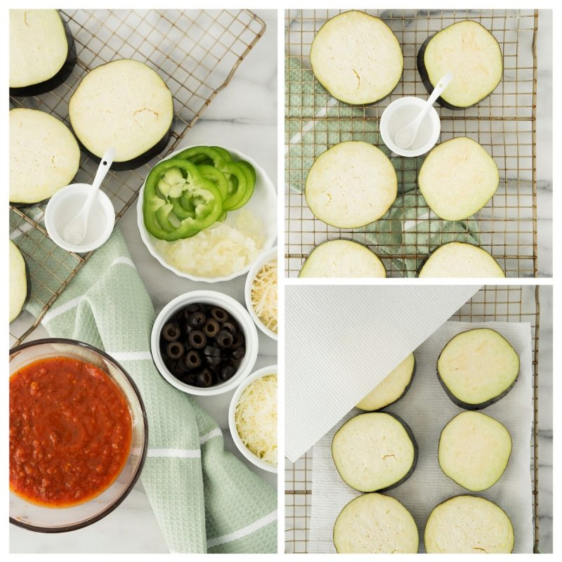 collage of steps to make eggplant pizza in the air fryer with tomato sauce