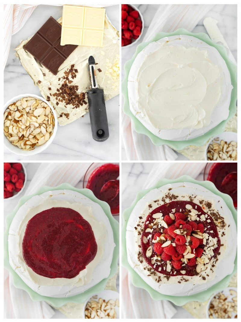 overhead of the steps to assemble a pavlova with raspberries and white chocolate whipped cream
