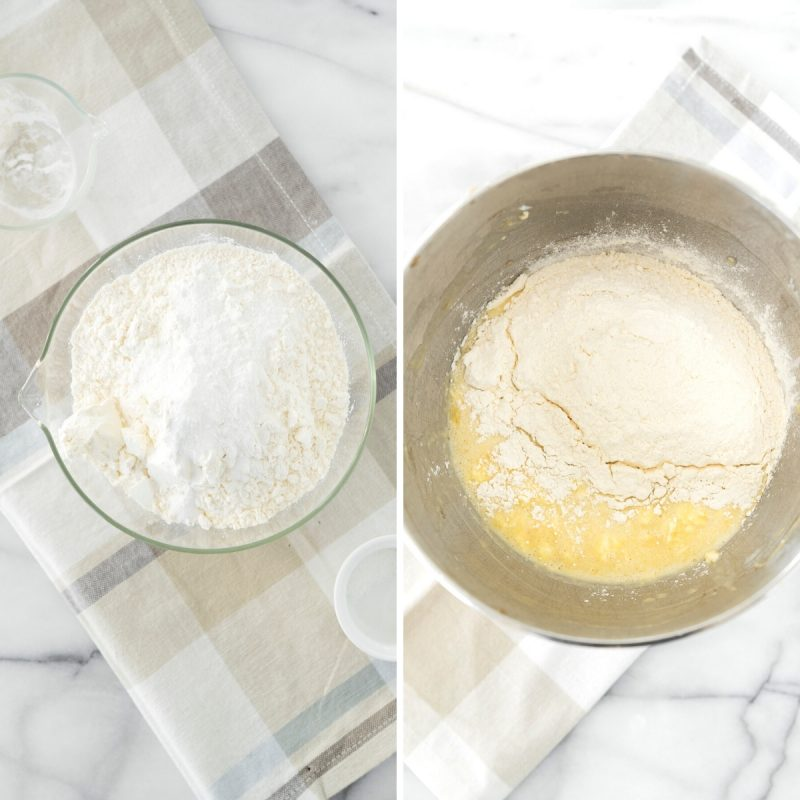steps to mix banana bread batter in a mixing bowl