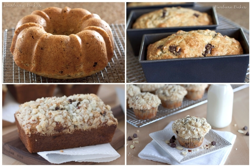 Banana bread baked in a bundt pan, loaf pans and as muffins