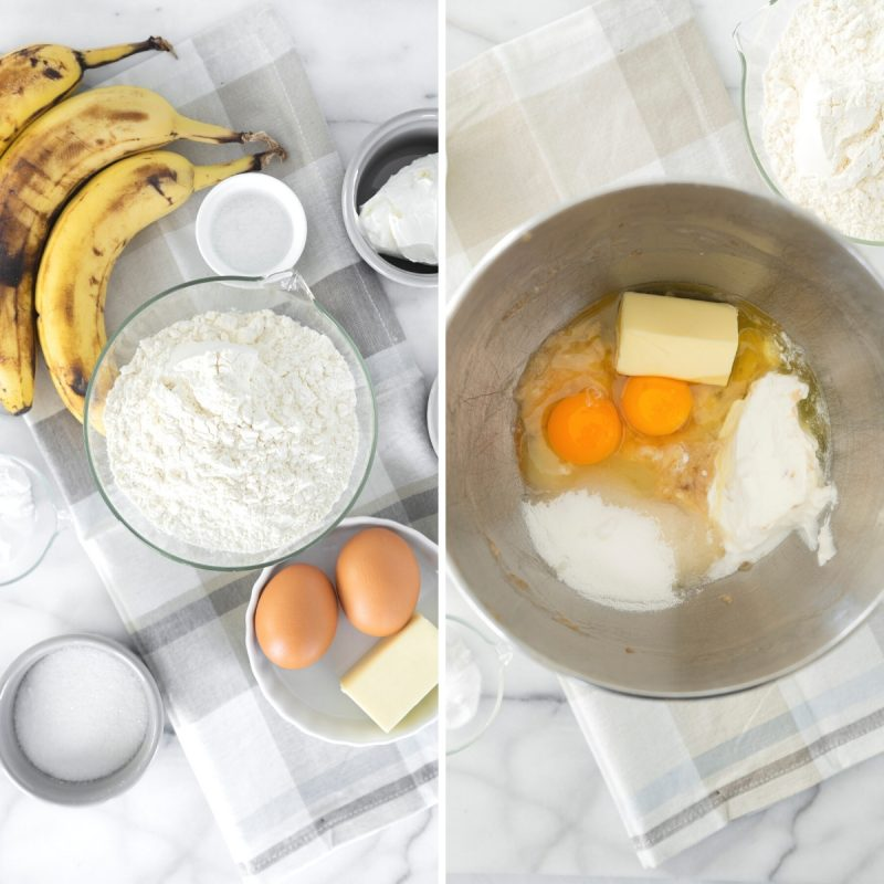 ingredients to mix batter for easy banana bread and batter in a metal bowl