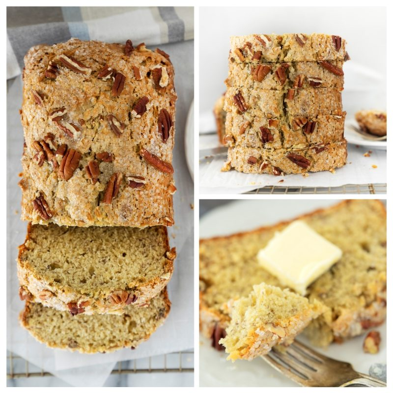 collage of images of sliced homemade banana bread