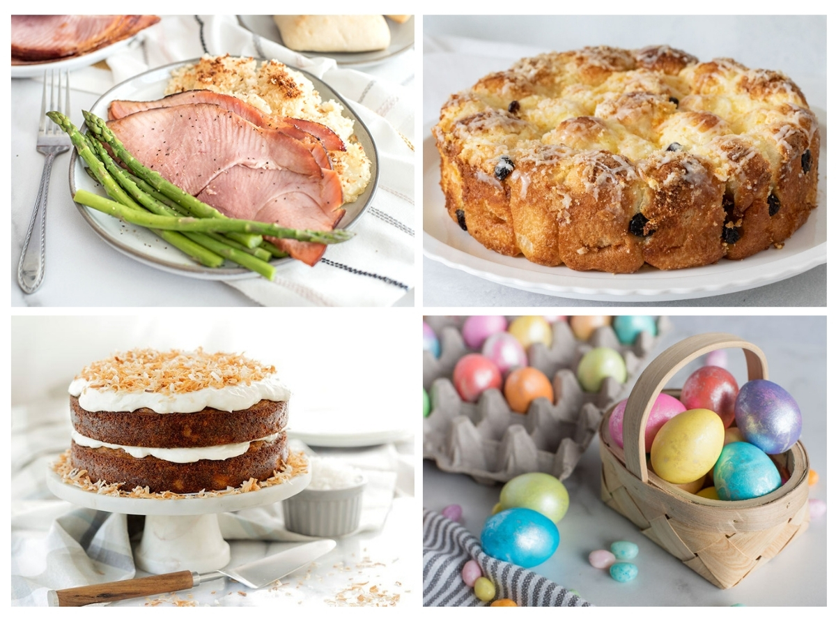4 Easter recipes, ham, citrus pull-aparts, carrot cake and colored Easter Eggs.