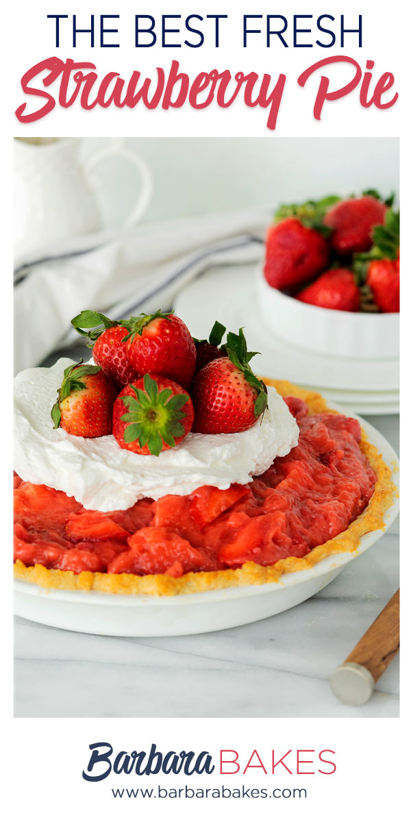 pinterest button with fresh strawberr pie topped with whipped cream