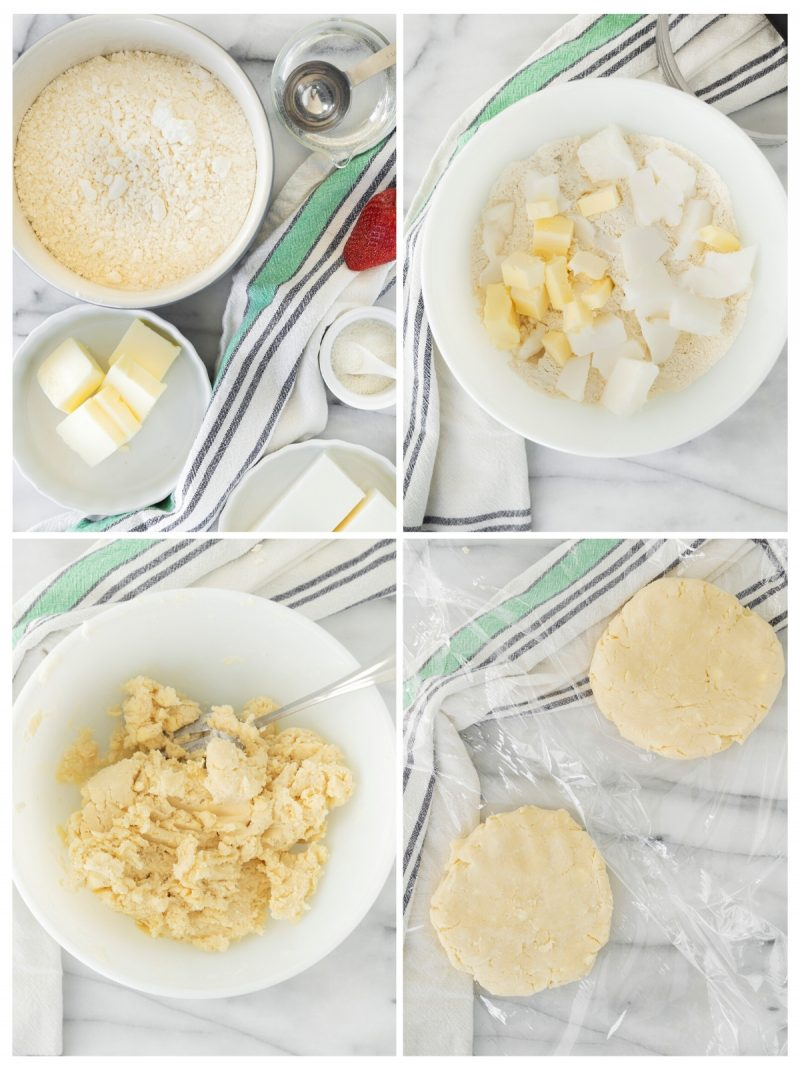 collage of steps to make homemade pie crust in a white mixing bowl