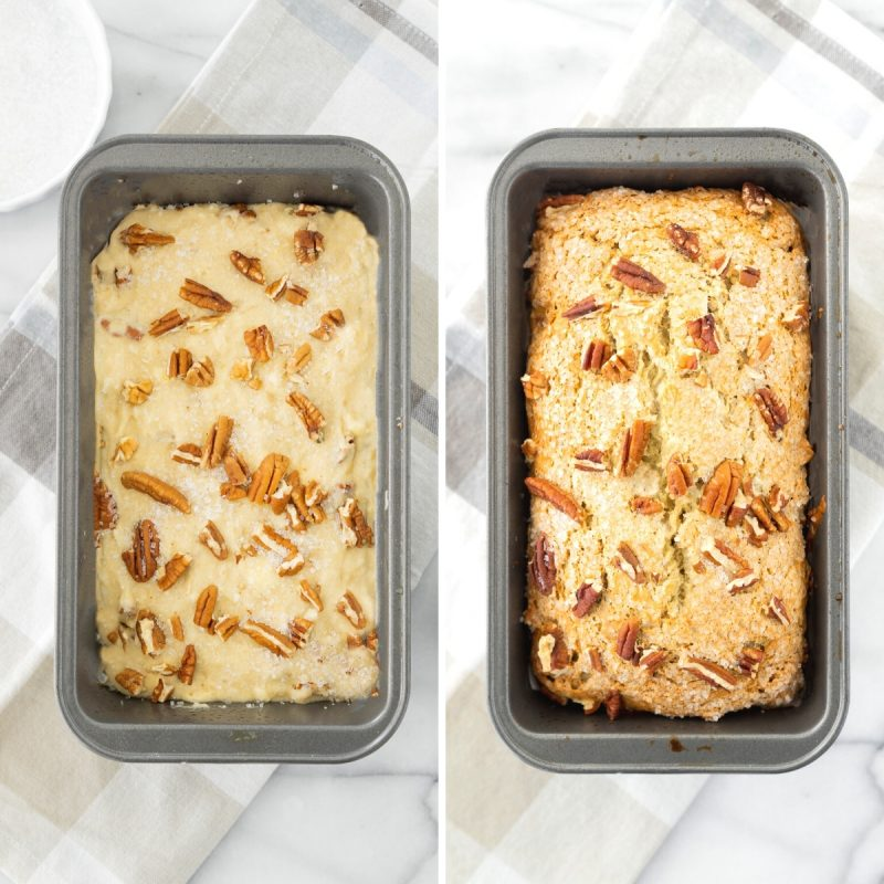 two loaf pans with banana bread batter