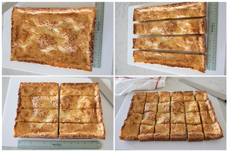 slicing neiman marcus cake out of the baking dish into bars
