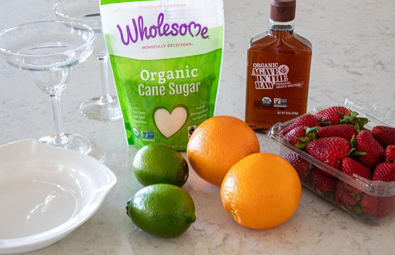 ingredients for non-alcoholic frozen strawberry margaritas