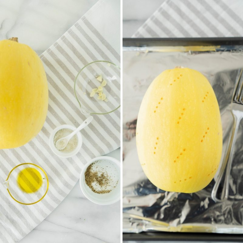 collage of two steps in making roasted whole spaghetti squash