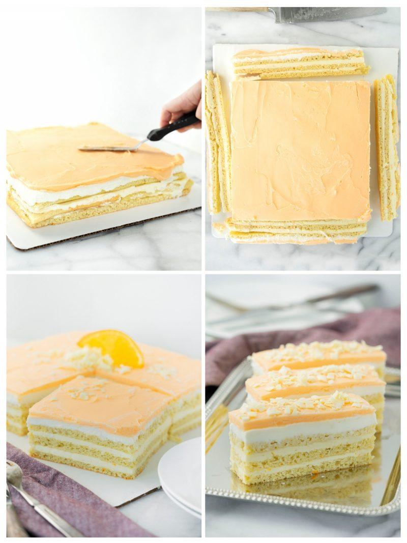 trimming and serving orange opera cake