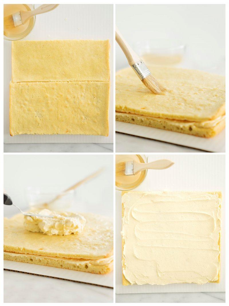 layering an opera cake with orange buttercream
