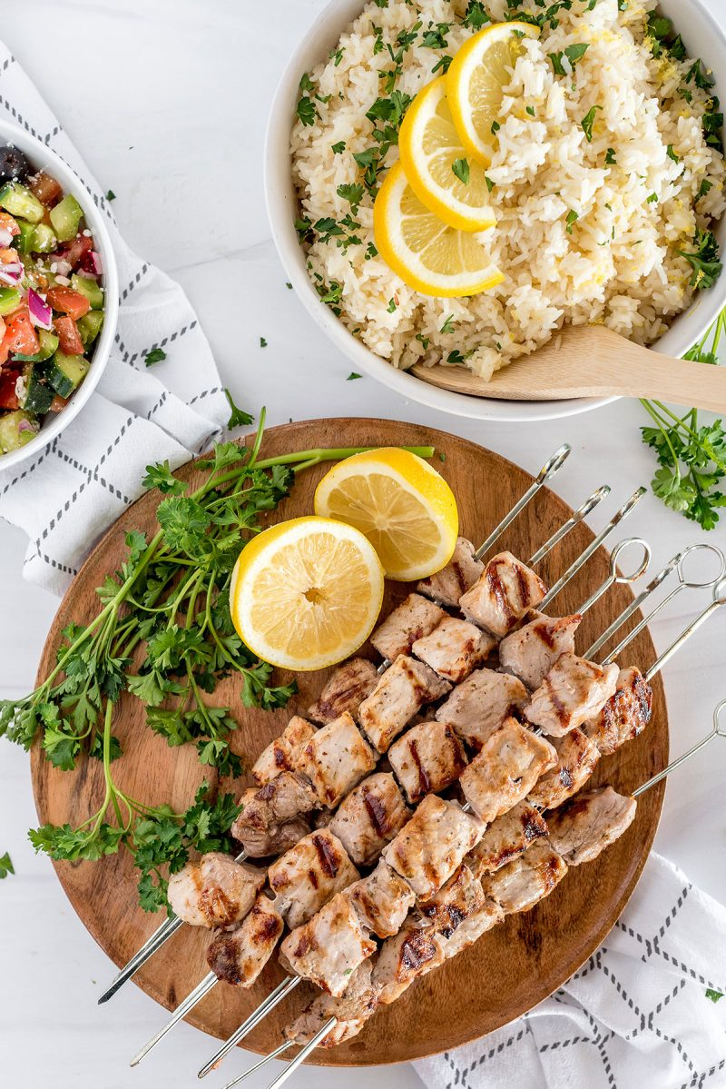 greek souvlaki with lemon rice