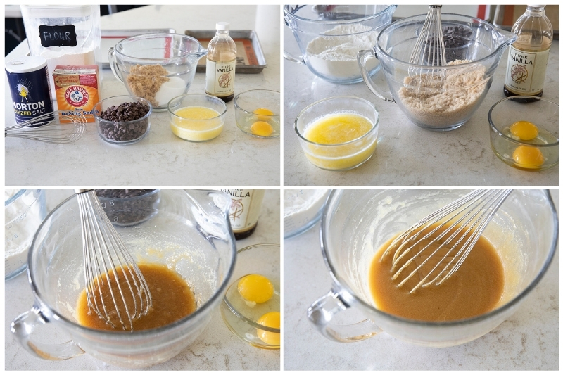 collage of the steps to make cookie dough batter for an air fryer