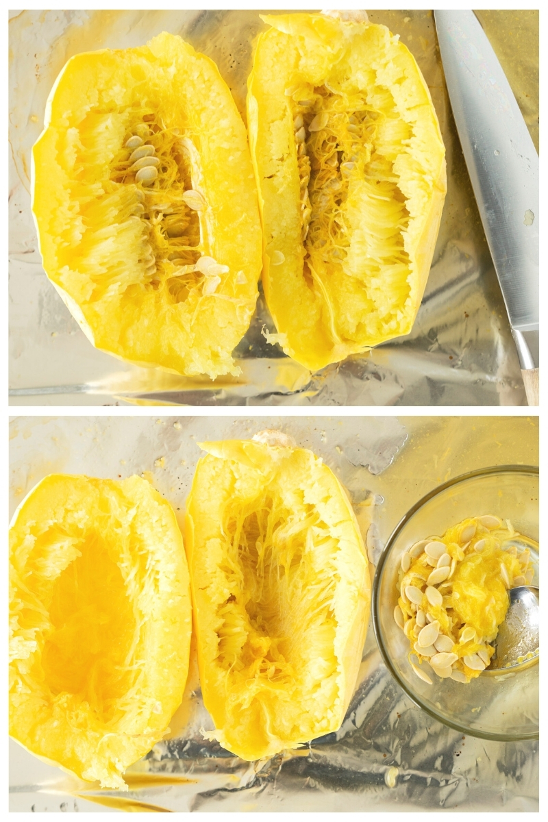 collage of baked spaghetti squash with and without seeds