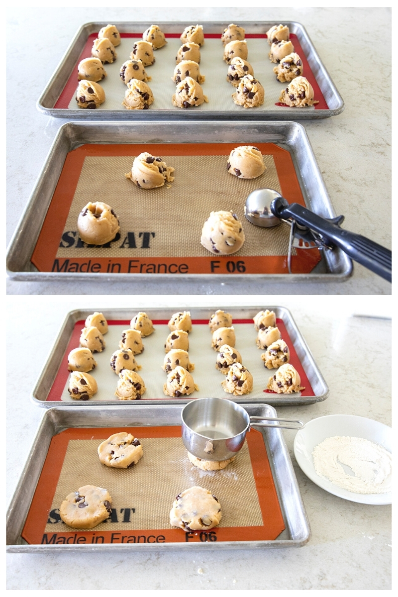 scooping cookie dough onto a baking sheet