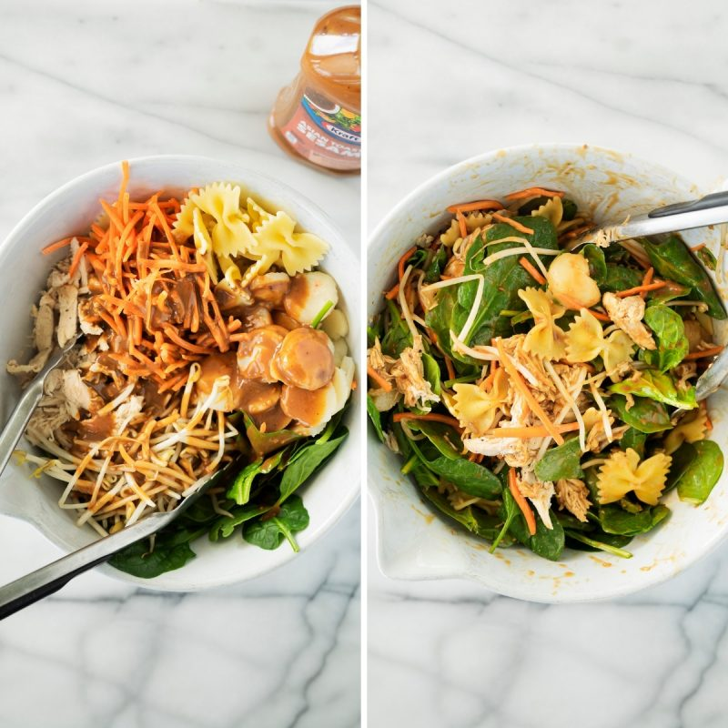 collage of tossing spinach and pasta salad with rotisserie chicken