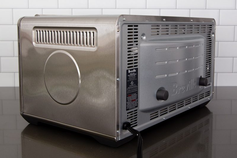 45 degree picture of the Breville Smart Oven Air Fryer from the back, showing the vents.