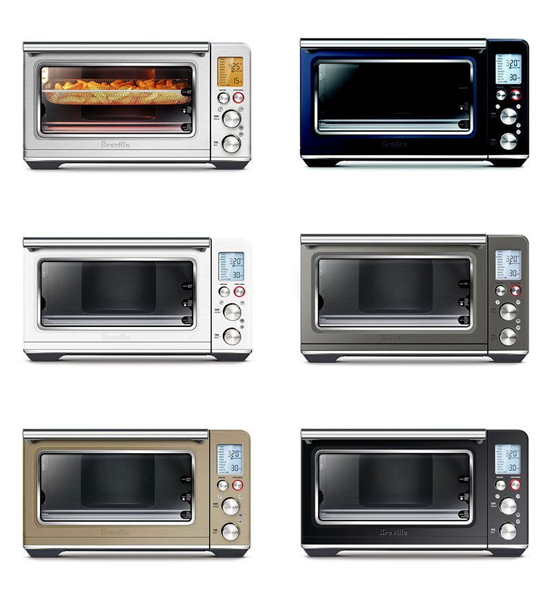 The different models of the Breville Smart Oven Air Fryer in six different colors