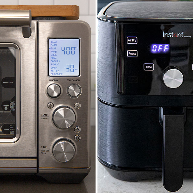 Side by side close ups of the Breville Smart Oven Air Fryer and the Instant Pot Vortex Basket Air Fryer