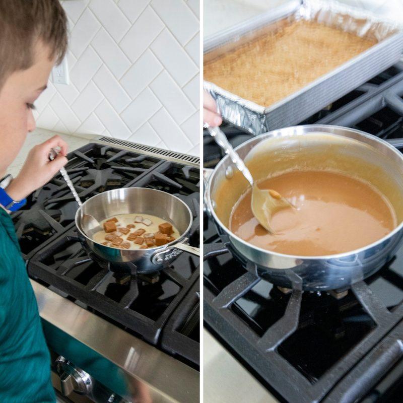 grandson melting caramel on the stove