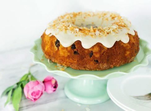 cake stand with pineapple and carrot bundt cake