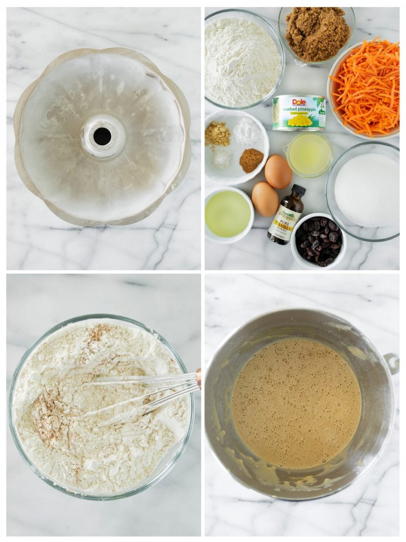 ingredients and mixing steps for carrot cake with pineapple