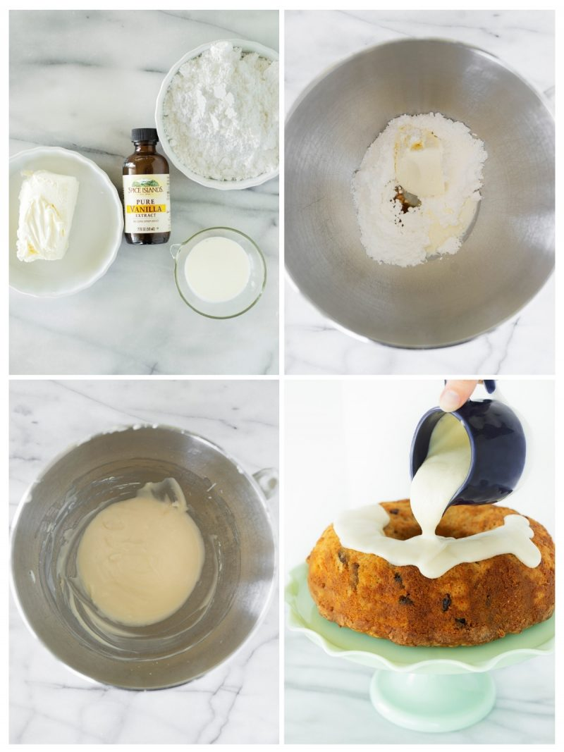 collage of the steps to make cream cheese icing for bundt cake batter