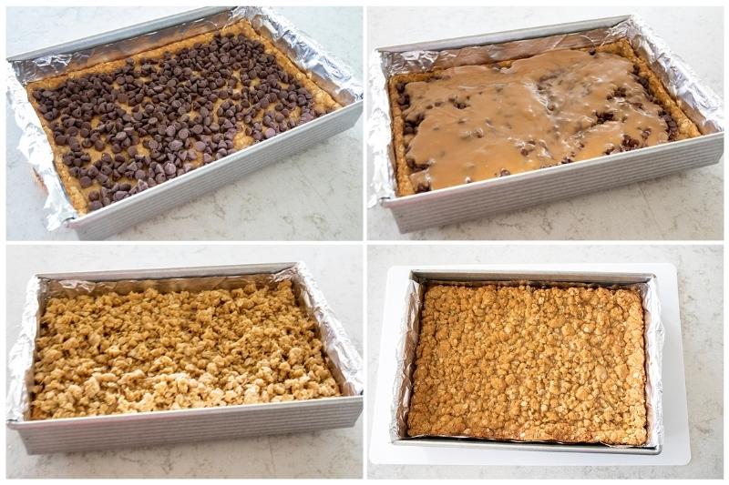 layering carmelitas cookie bars in a baking pan