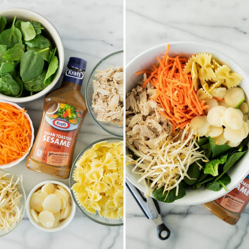 collage of ingredients for Asian spinach salad with chicken