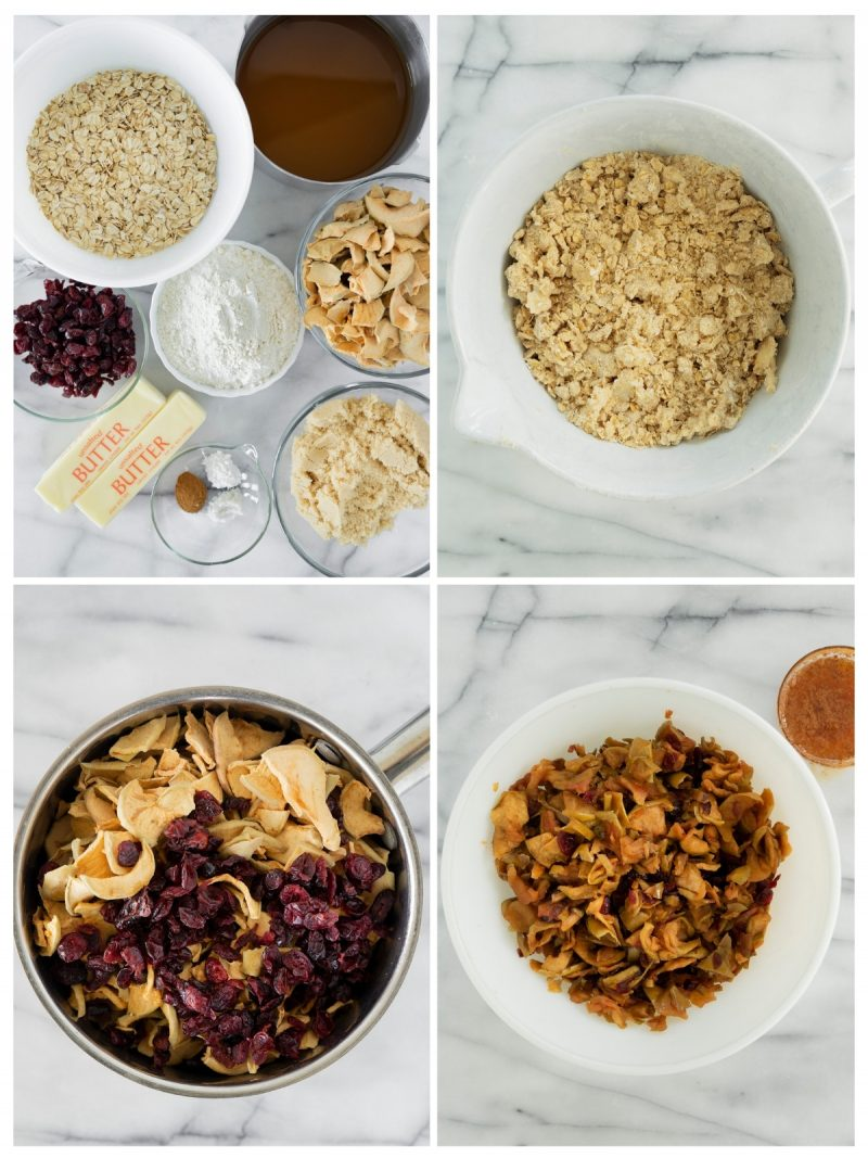 collage of mixing the crust for apple crumble bars in a bowl