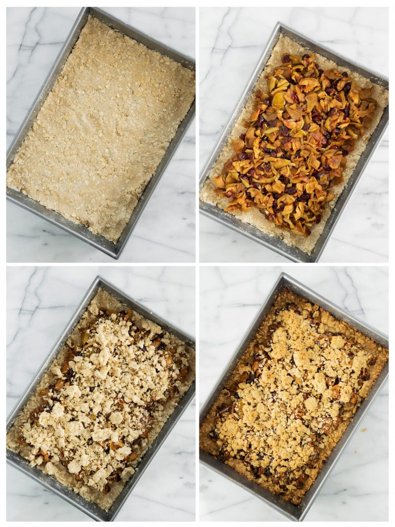 filling a baking dish with apple crumble ingredients