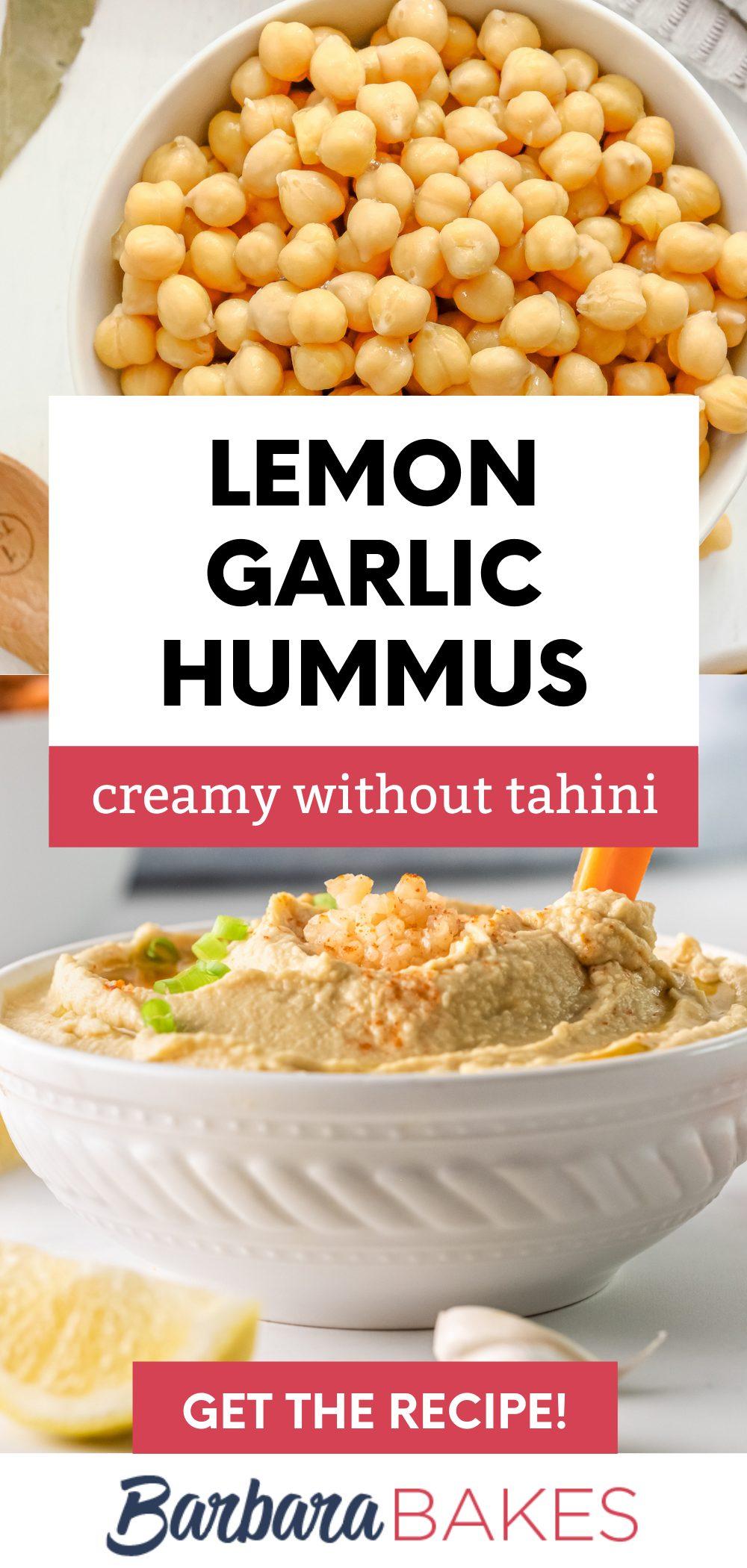 Lemon Garlic Hummus via @barbarabakes