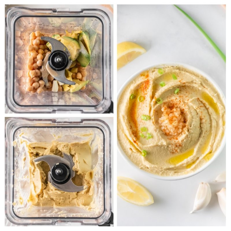 collage of the steps to make lemon garlic hummus in a food processor