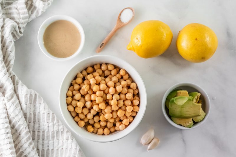 ingredients for homemade hummus with cooked chickpeas