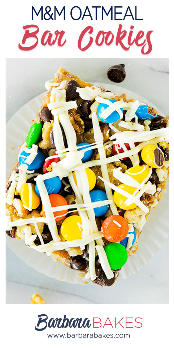 oatmeal bar cookies with white chocolate and m&m candies pinterest button