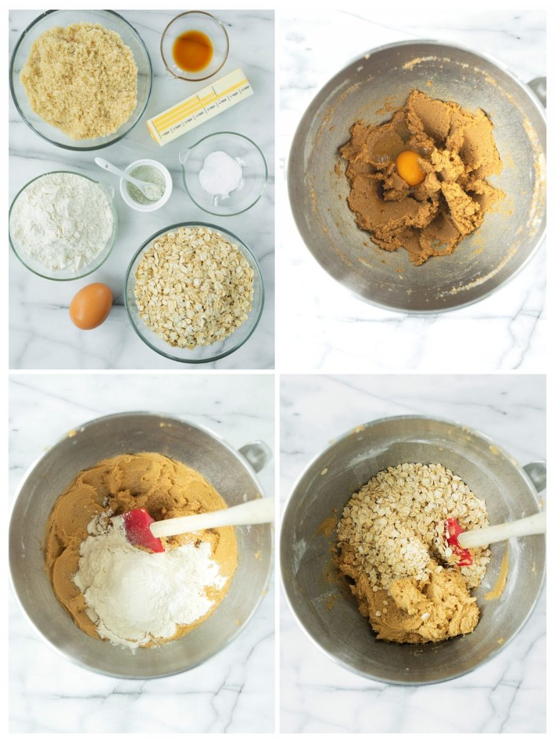 collage of the steps to make oatmeal cookie crust for bars