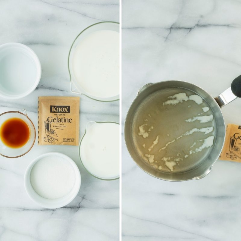 ingredients for vanilla panna cotta and how to make it on the stove