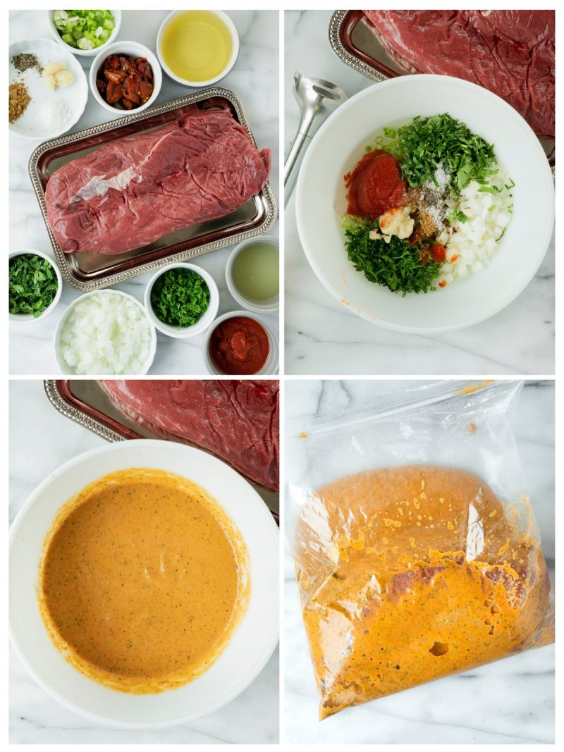 collage of the steps to marinate and cook carne asada tacos