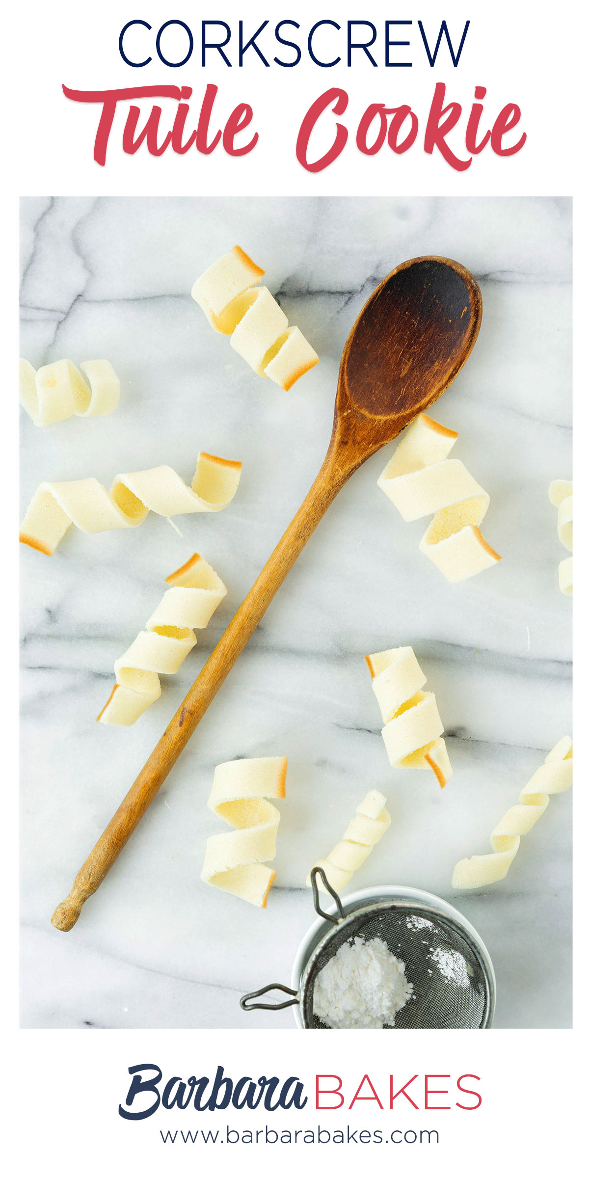 pinterest button with spiral tuile cookies and a wooden spoon